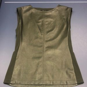 Two-Toned Faux Leather & Cotton Olive Green Shirt